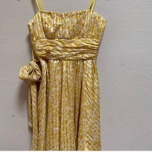 BCBGmaxazria yellow white rayon bubble dress